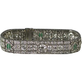 Platinum Emerald & Diamond Art Deco Bracelet circa 1930