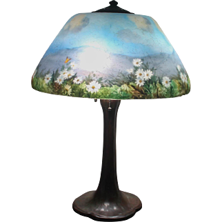 Stunning signed reverse painted Handel Lamp on original Handel Base