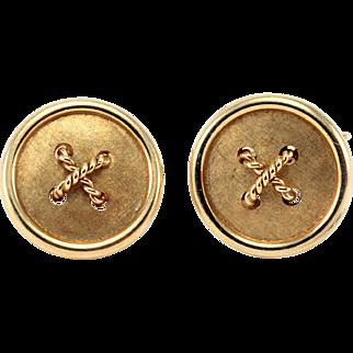 Retro 18kt Gold Cufflinks Vintage Button Style Circa 1950-1960's