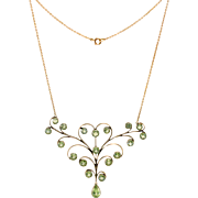 10k Peridot Necklace Pink Rose Gold