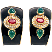 Vintage 18k Diamond Earrings Yellow Gold Ruby Emerald Diamond Enamel