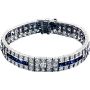Diamond Sapphire Bracelet Platinum 10.00 cttw