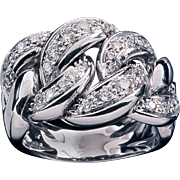 18k Diamond Link Band Ring 0.42ctw Flexable Pave' White Gold