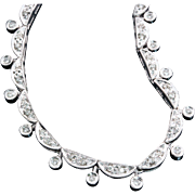 Vintage Diamond Necklace 14K White Gold 0.50ctw Gatsby Era 20's Style