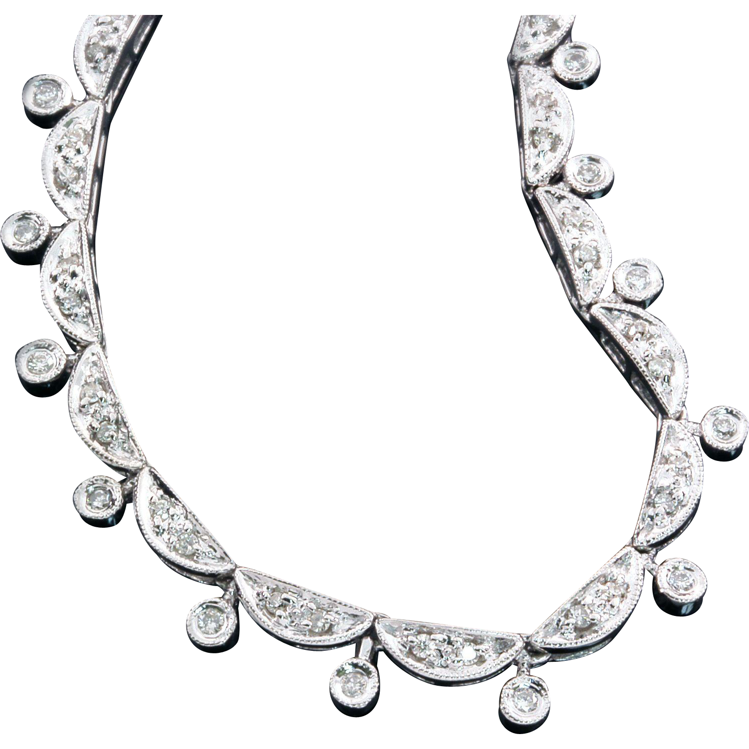 Vintage Diamond Necklace 14K White Gold 0.50ctw Gatsby Era 20's Style