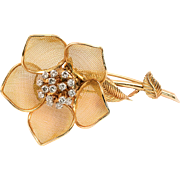 18k Vinatge Diamond Pin Brooch Flower 1.25cttw French Made Blooming Yellow Gold