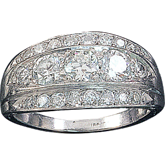 Diamond Cocktail Ring Platinum Estate 1.45 ctw