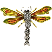 18k Diamond Pin Brooch Sapphire Platinum Dragonfly