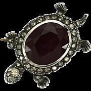 Turtle Ruby Diamond Pin Brooch Clip Estate Sterling SIlver