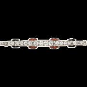 Cartier Diamond Pin Brooch Onyx Coral Platinum Art Deco Bar Black Onyx