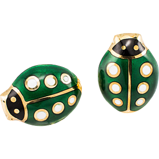 18k Earrings Estate Ladybug Enamel Yellow Gold With Green Black White Enamel