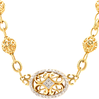 14k Designer Diamond Necklace Filigree Byzantine Etruscan Yellow Gold