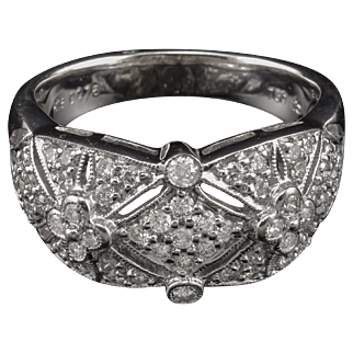 18k Estate Diamond Ring Deco Style Pave' 3/4ct White gold