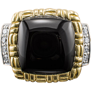 Philip Andre Diamond Ring 18k Onyx Yellow White Gold Estate Designer