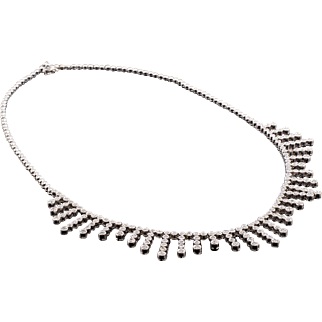 14k Estate Diamond Necklace Collar White Gold 3.75ctw Diamonds