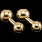 18k Cartier Estate Cufflinks Barbell Estate Classic Yellow Gold Signed