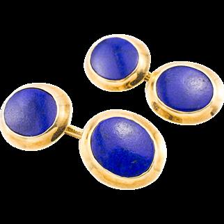 Vintage 14k Tiffany Cufflinks Signed Yellow Gold Lapis Lazuli Classic Beauty