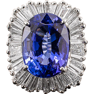 Platinum Tanzanite Diamond Ring 8.65ct Oval Estate - Gorgeous!