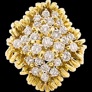 18k Vintage Diamond Ring Cocktail Large 2.69ctw Yellow Gold 18k 1960's