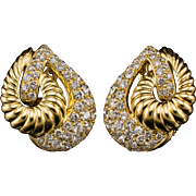 Vintage Retro Diamond Clip Earrings 5.92ctw 1970's Yellow Gold 18k