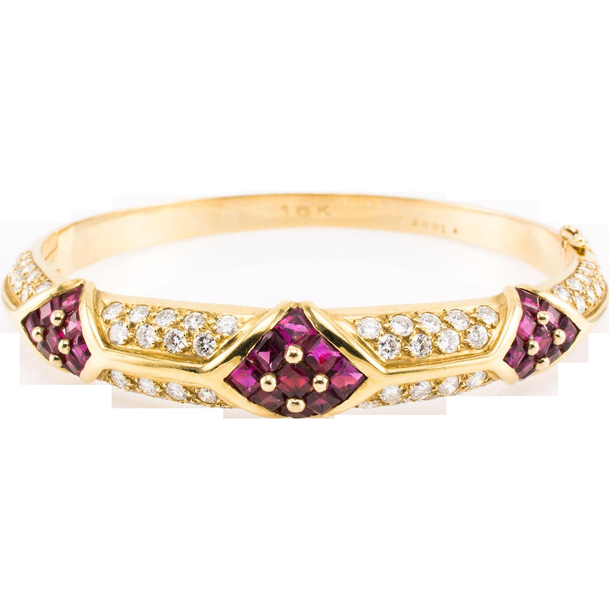 Vintage 18K Cartier Bracelet Authentic Diamond Ruby Bangle Designer - Exquisite!