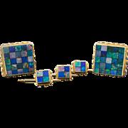 14K Opal Cuff link Set Estate Opal Mosaic Inlay Yellow Gold