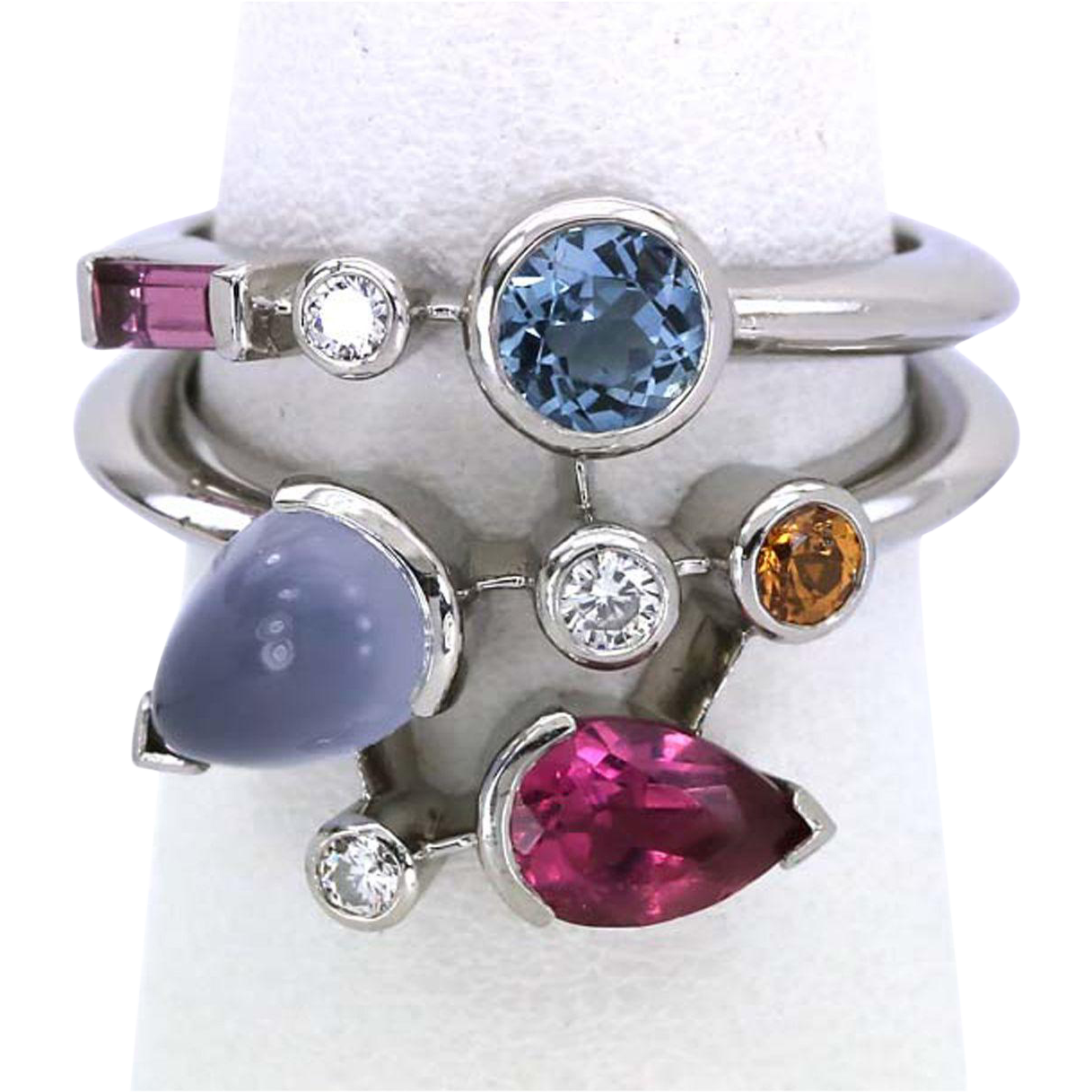 Cartier Meli Melo Ring Platinum Diamond Gemstone