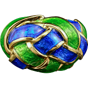 18k Tiffany Schlumberger Ring Green & Blue Enamel Dome Yellow 1960's