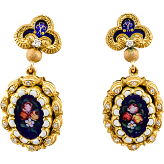 18k Vintage Diamond Earrings Yellow Gold Enamel & Diamond Hand Painted 1930-40's