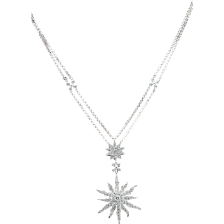 14k Diamond Pendant Necklace Star Sun Flower 1.80tcw White Gold