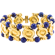 18K Lapis Lazulli Bracelet Estate Bangle