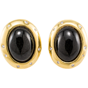 18K Diamond Earrings Cummings Designer Angela Cummings Black Onyx Vintage 1984