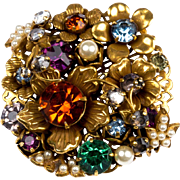 Vintage Miriam Haskell Multi-Colored Glass Stone Brooch