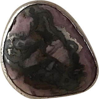 Large Sterling Ring with Semi-Precious Stone