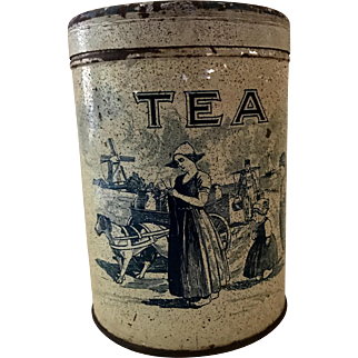 Tole Tea Cannister circa 1920s-1930s with Dutch Scenes