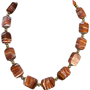 Lovely Carnelian Banded Agate Necklace Circa 1930s