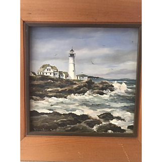 Wendell Thompson Perkins Maine Lighthouse Oil Painting