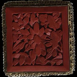 Chinese Red Cinnabar Pin