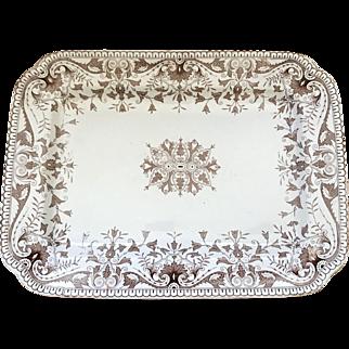 "Antique Aesthetic Movement 16"" Brown Transferware Platter"