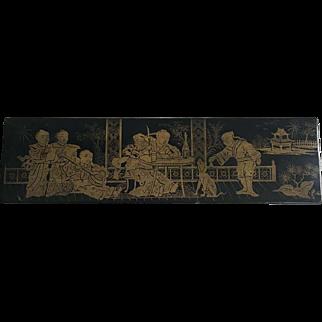 Chinese Lacquer Papier Mache Brush Box Circa 1900s-1920s