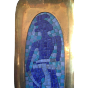 Salvador Teran Los Castillo Circa 1950s Glass Mosaic Brass Tray