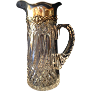 Rare ABP Cut Glass Crystal Tankard with Gorham Sterling Collar