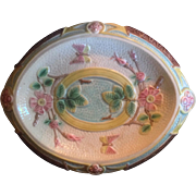 """19th Century Majolica Bread Tray in the """"Wild Rose"""" Pattern """"Waste Not Want Not"""""""