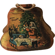 Circa 1930's Christmas paper Candy Container Bell with Poem