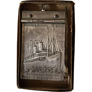 1906 Aide Memoire Chatelaine Notebook, Raised Ship on Silvertone Metal