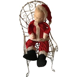 "Vintage Mechanical Windup Moveable, Musical Sleeping Baby Doll in Santa Suit ""Jingle Bells"""