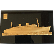 "Vintage ""Homeric"" Cruise Ship Paperweight, Circa 1950's"