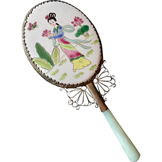 Circa 1930's Hand-Enameled Porcelain Chinese Hand Mirror