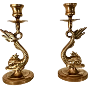 Circa 1950s Figural Dolphin Brass Candlesticks Virginia Metalcrafters