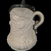 Antique salt-glazed Stoneware Syrup Pitcher circa 1850's
